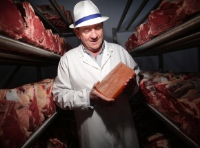 Best steaks - Peter Hannan of multi award winning Hannan Meats in the dry age storage unit which uses blocks of cut Himalayan salt built in a wall to help cure the meat. Pictures Mark McCormick 25/01/13
