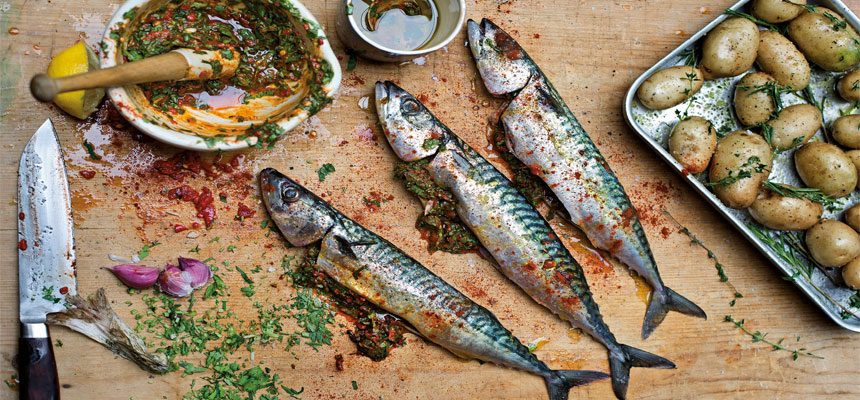 Roast new potatoes and mackerel stuffed with chermoula for How to cook mackerel fish